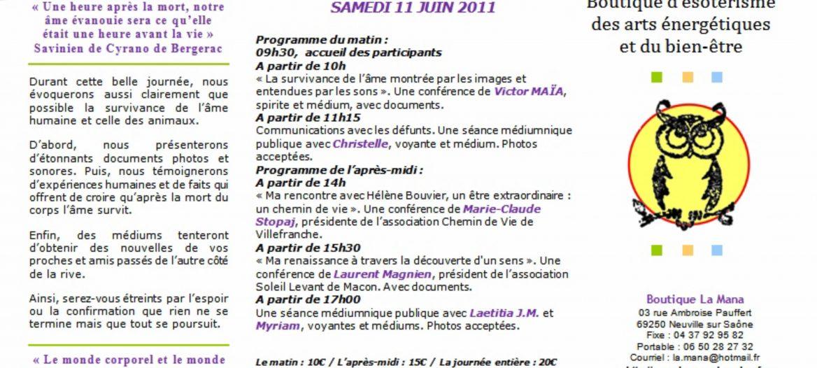 Journée de la survivance de l'âme, Neuville-sur-Saône, Victor Maia, voyant, médium, spiritualiste, Plouvien,