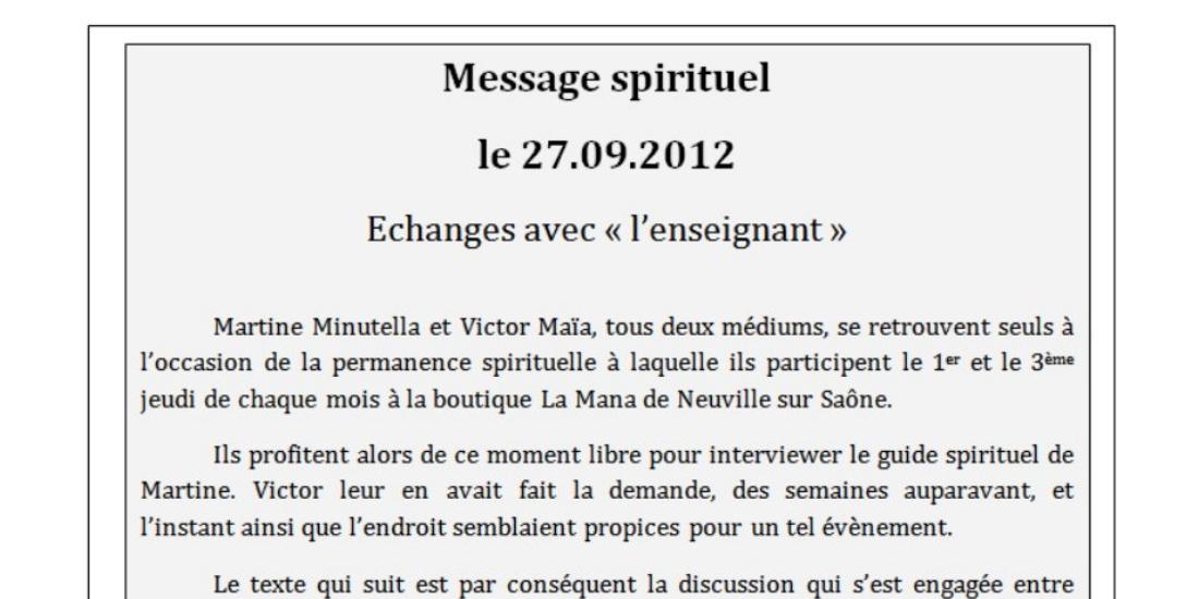 Message spirituel du 27.09.2012 sur Victor Maia médium voyant spiritualiste Brest Plouvien Finistère Bretagne